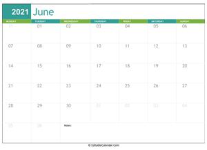 Editable Calendar June 2021