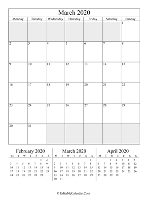 march 2020 editable calendar portrait