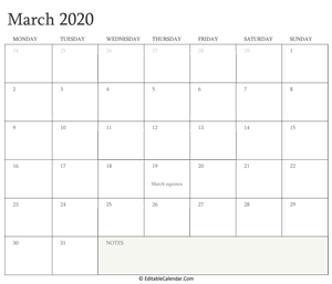 march 2020 editable calendar with holidays