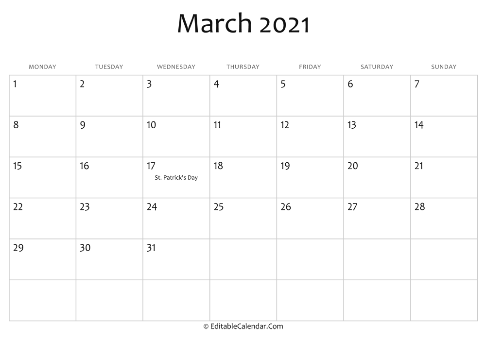 march 2021 printable calendar holidays
