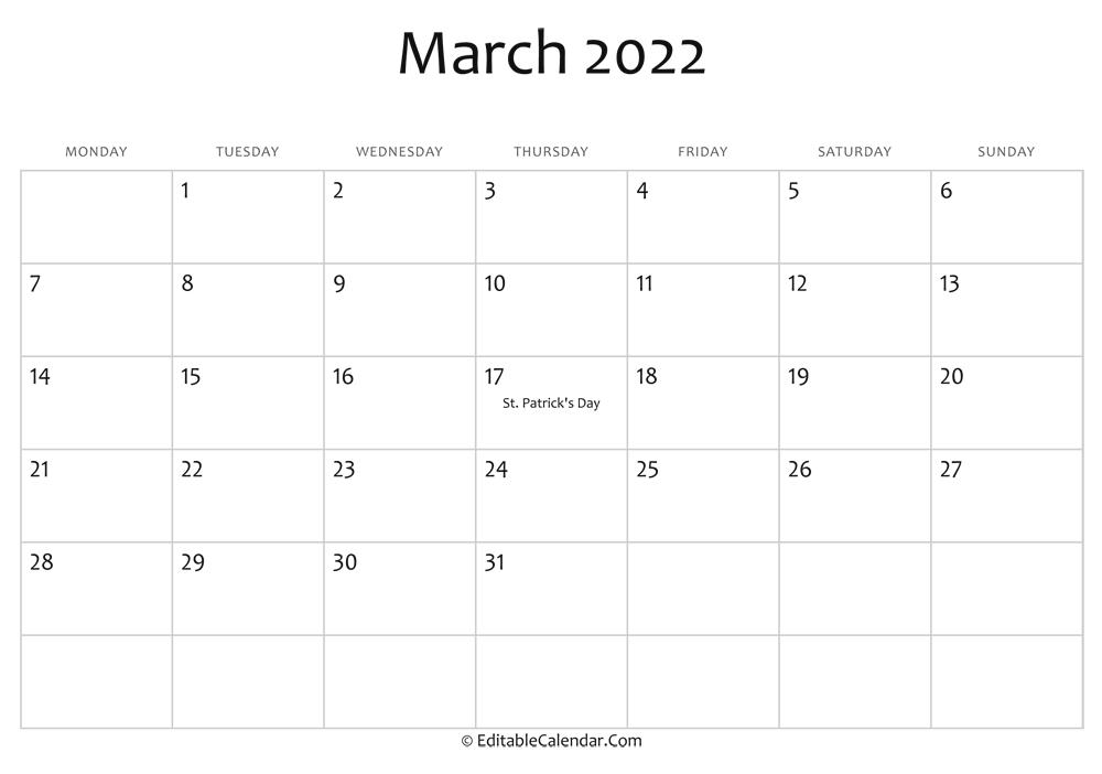 March Blank Calendar 2022.March 2022 Calendar Templates