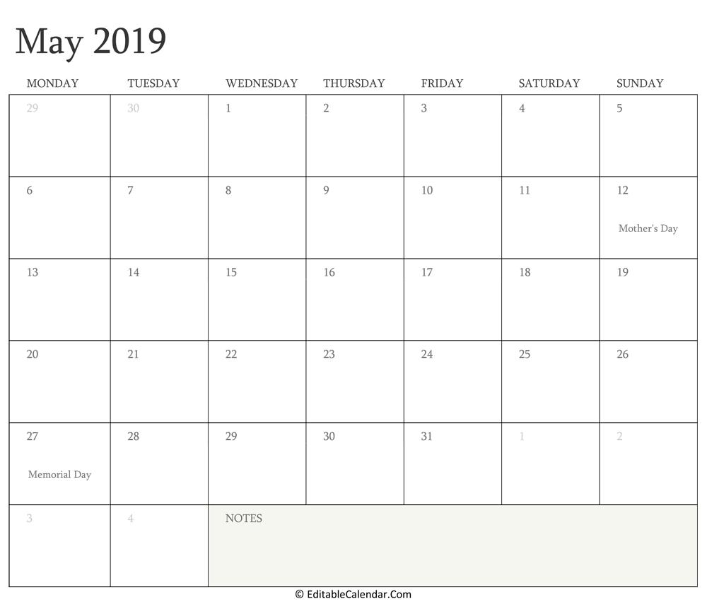 editable calendar may june 2018