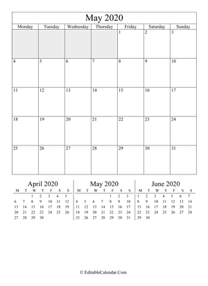 may 2020 editable calendar portrait