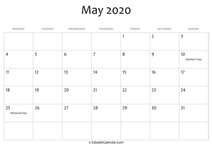 may 2020 printable calendar holidays