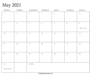 may 2021 editable calendar with holidays