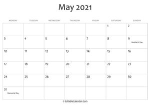 May 2021 Calendar Templates