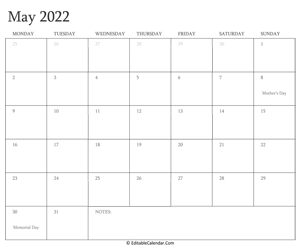 may 2022 editable calendar with holidays