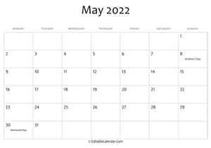 may 2022 printable calendar holidays