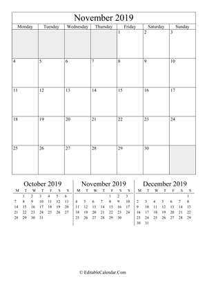 november 2019 editable calendar portrait