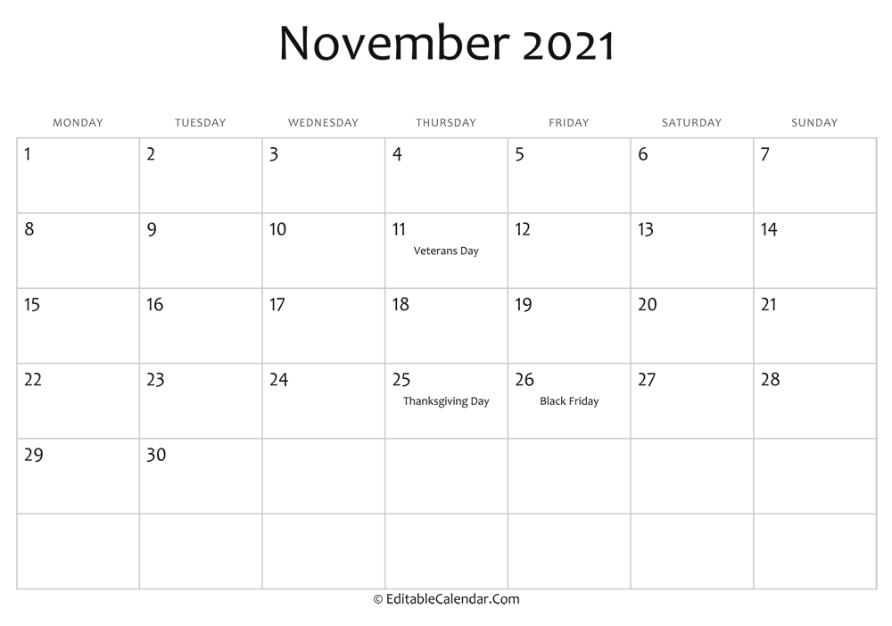 november 2021 printable calendar holidays