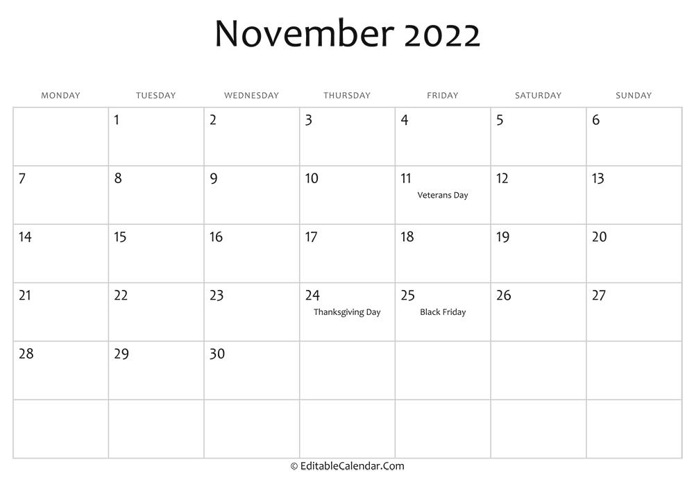 Printable November 2022 Calendar.November 2022 Calendar Templates