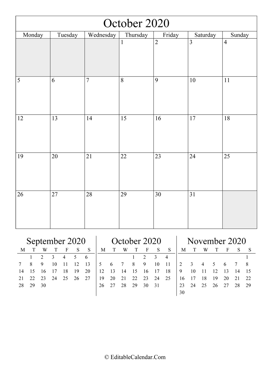 october 2020 editable calendar portrait