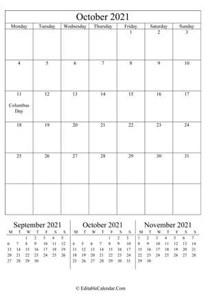 Editable Calendar October 2021