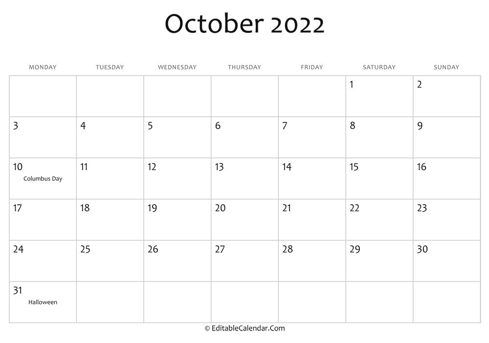 Oct 2022 Calendar Printable.October 2022 Calendar Templates