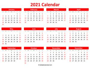 Printable 2021 Calendar (Landscape Orientation)