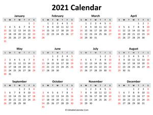 Printable Yearly Calendars 2021