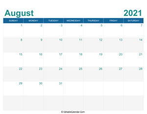printable monthly calendar august 2021