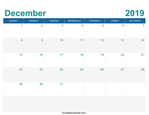 printable monthly calendar december 2019