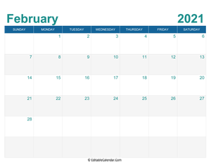printable monthly calendar february 2021
