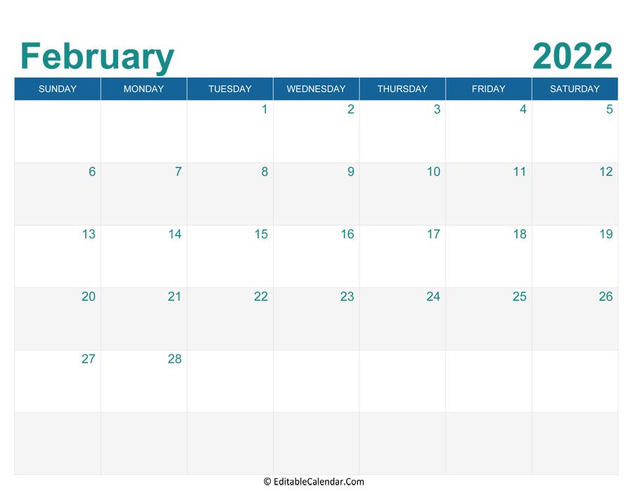 Word 2022 Calendar.Download Printable Monthly Calendar February 2022 Word Version