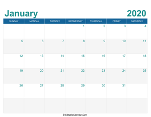 printable monthly calendar january 2020