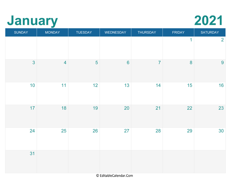printable monthly calendar january 2021