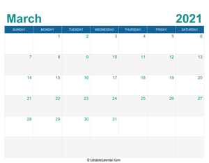 printable monthly calendar march 2021