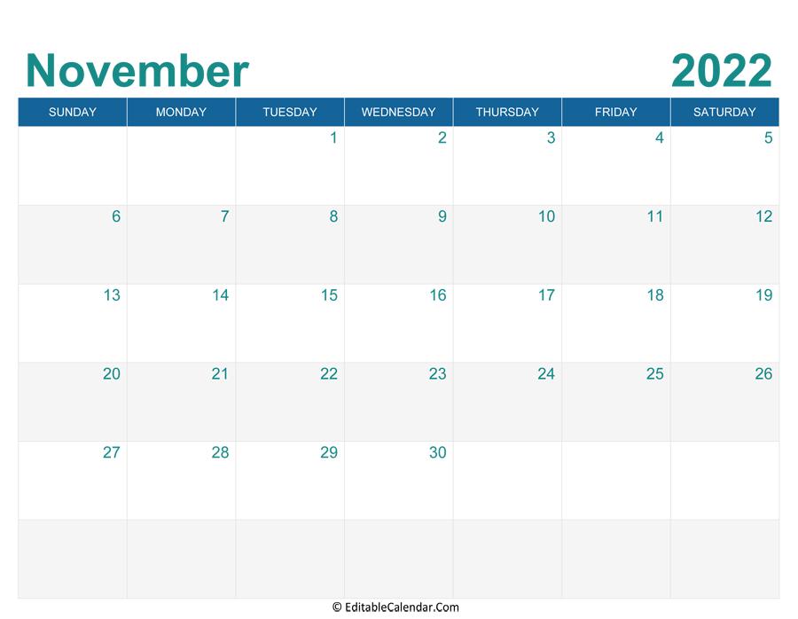 November 2022 Calendar Templates