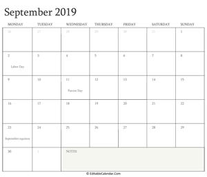 september 2019 editable calendar with holidays