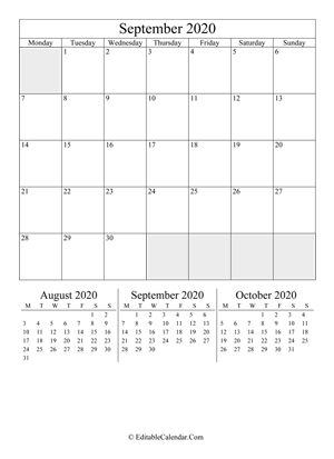 september 2020 editable calendar portrait