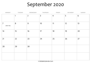 september 2020 printable calendar holidays