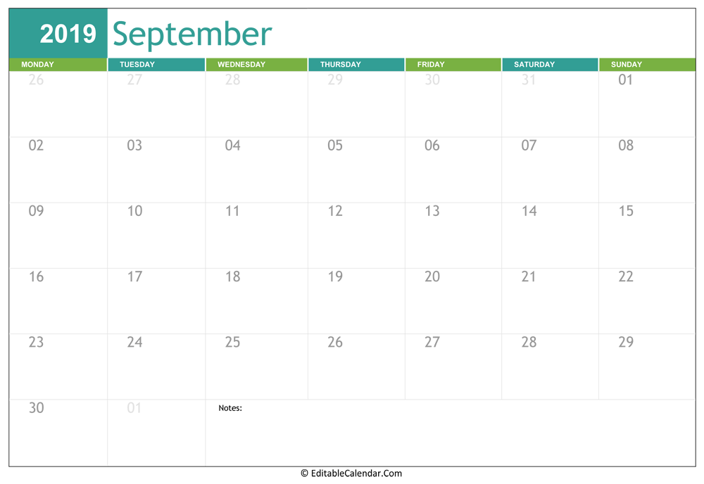 photograph regarding September Printable Calendar known as Editable Calendar 2020, 2021